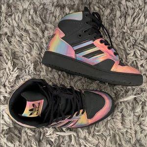 Adidas high-tops size 7, black & iridescent